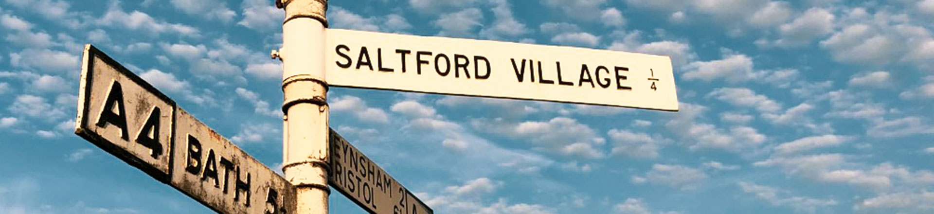 sign post showing Saltford Village between Bath and Bristol